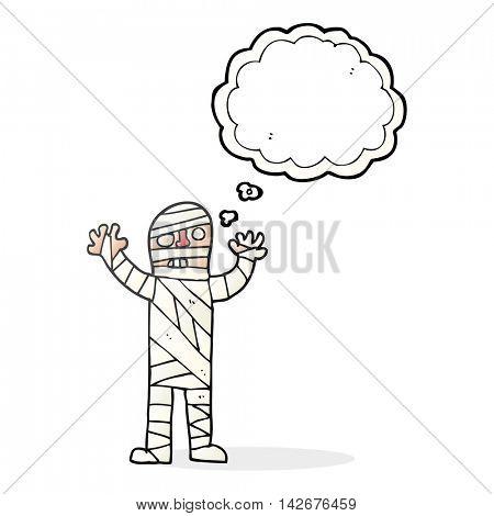 freehand drawn thought bubble cartoon bandaged mummy poster