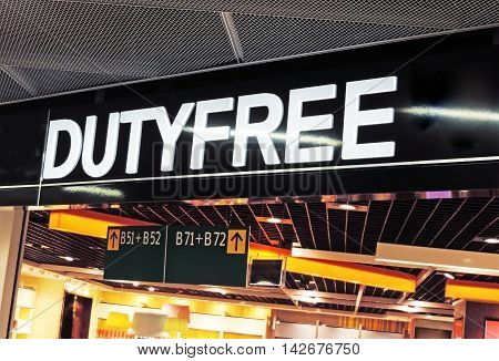 Duty free shop sign at an airport.