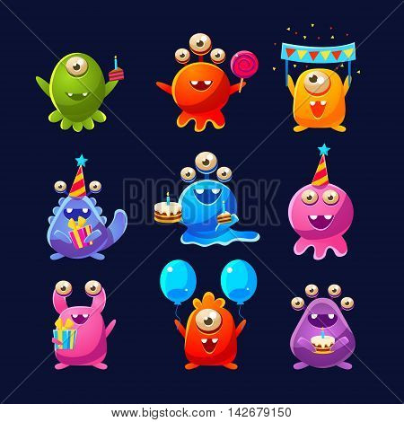 Fantastic Aliens With Birthday Party Objects Cute Childish Stickers. Cartoon Colorful Alien Characters Isolated On Dark Background.
