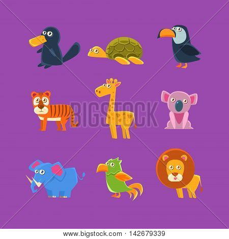 Exotic Animals Fauna Set Of Silly Childish Drawings Isolated On Purple Background. Funny Animal Colorful Vector Stickers Set.