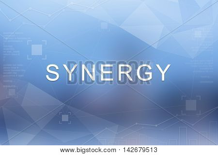Synergy word on blue blurred and polygon background