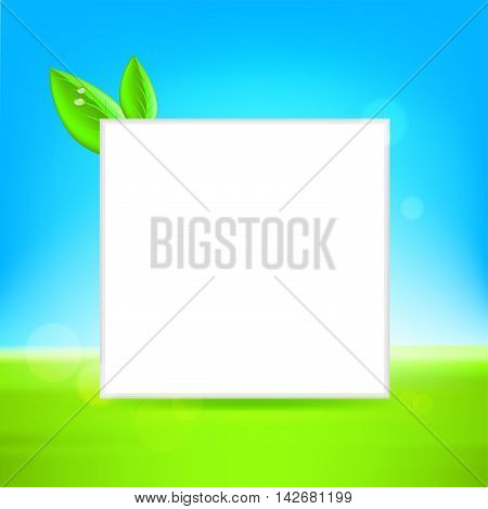 White frame with leaf. vector ison illustration background
