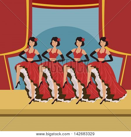 Four Dancers Doing Cancan On Theatre Stage Simplified Graphic Drawing In Bright Colors. Show On Stage Flat Vector Illustration