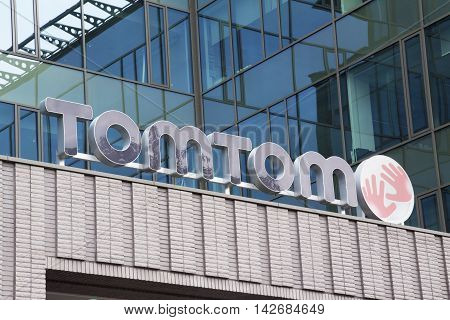Amsterdam Netherlands-august 13 2016: Letters tom tom on the headquarter of tom tom in Amsterdam