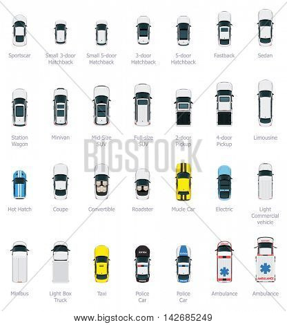 Vector cars icon set. From above view