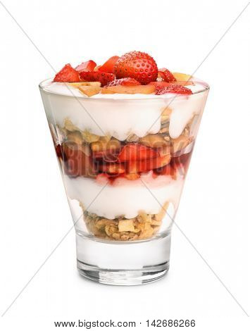 Glass of fruit and yogurt parfait isolated on white
