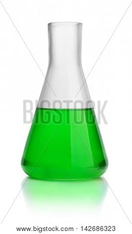 Laboratory conical flask with green liquid isolated on white