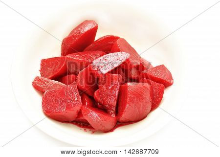 Healthy Cut Beets in a White Bowl