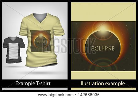 example illustration on a T-shirt. eclipse solar