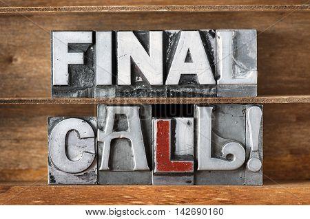 Final Call Tray