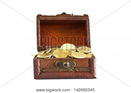 Treasure chest filled with gold coins isolated on white background