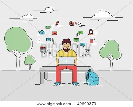 Hipster young man is sitting with laptop outdoors. Flat outlined illustration of guy writing a comment in social networks on laptop with social media signs such as email, chat bubbles, blog, news around him