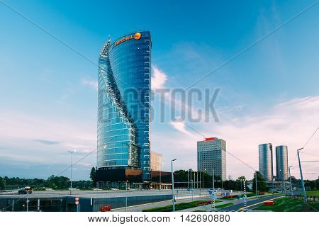Riga, Latvia - June 30, 2016: Central Building  Swedbank In Riga, Latvia. Sunny Summer Evening. Swedbank Has 9.5 Million Retail Customers And 622, 000 Corporate Customers In Sweden, Estonia, Latvia, And Lithuania.