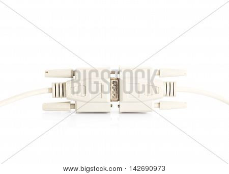 VGA input cable connector with white cord on white background poster