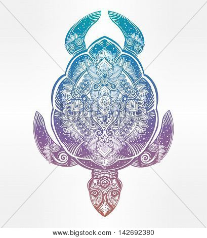Ornate turtle in tattoo style. Isolated vector illustration. Ideal for coloring page, shirt design effect, logo, tattoo and decoration.
