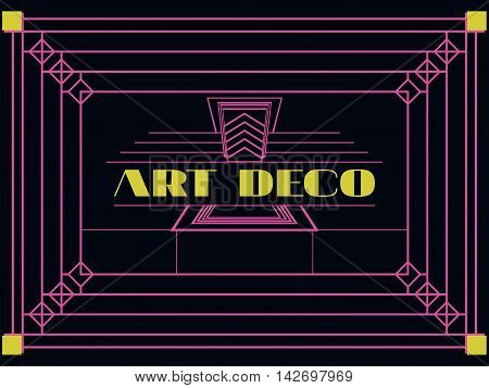 Art Deco Geometric Frame. Retro Background In Style 1920's, 1930's. Vector Illustration.