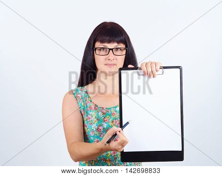 Woman Holding A Blank Document Pointing Where To Put Signature