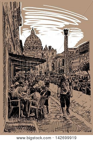 original sketch hand drawing of Rome Italy famous cityscape, travel card, vector illustration