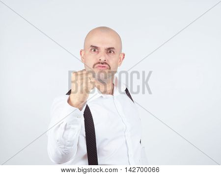 Man Fist Raised Menacing Threat. Emotions And People Concept