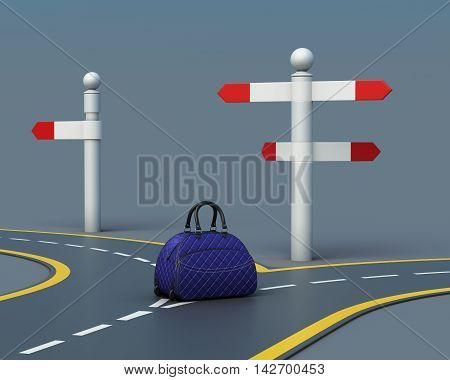 Travel Concept Suitcase On Road Forks. 3D Rendering