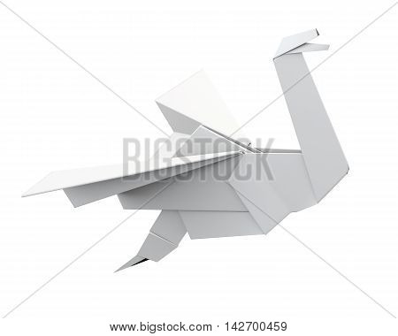 Paper Crane Isolated On White Background. 3D Rendering