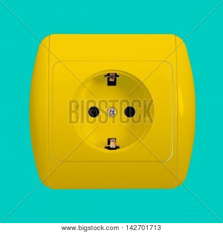 The yellow electric socket with grounding on a blue background