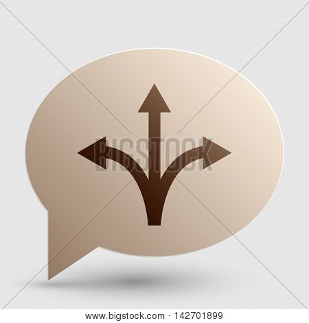 Three-way direction arrow sign. Brown gradient icon on bubble with shadow.