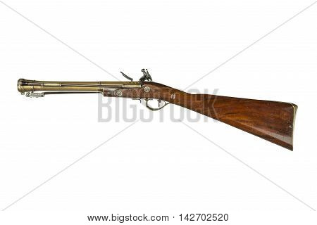 old vintage antique blunderbuss as used on stage coaches and wars isolated on white unusual as has a flick bayonet fitted isolated with clipping path