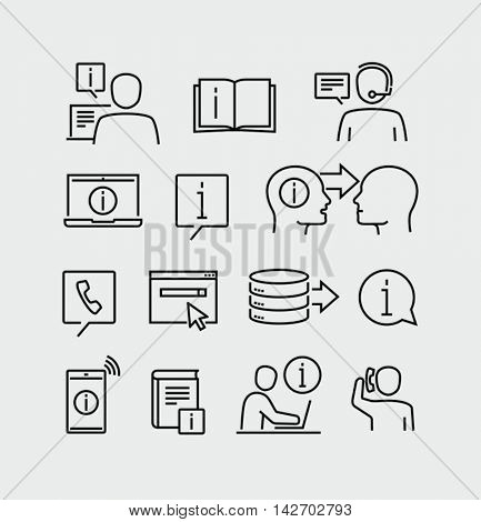Information Support Service Vector Line Icons