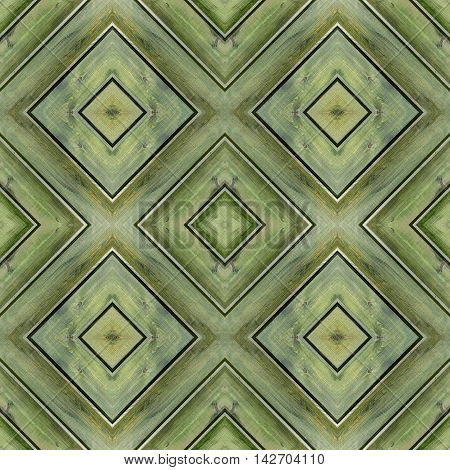 Wooden background, wall, table. Background for scrapbook, top view. Collage with mirror reflection. Mysterious wooden backdrop, flooring or parquet floor. Seamless pattern