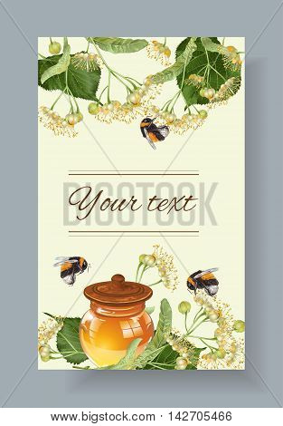 Vector linden honey banner with bumblebees. Design for herbal tea, natural cosmetics, honey, health care products, homeopathy, aromatherapy. With place for text poster