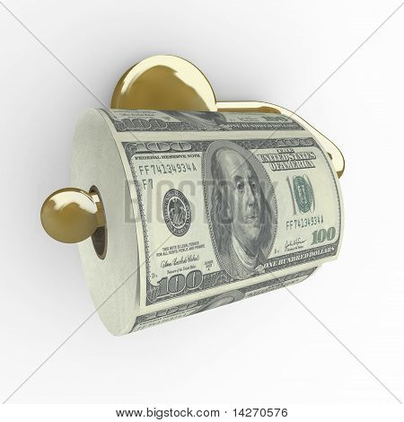 Toilet Paper Roll Of Money - Hundred Dollar Bills