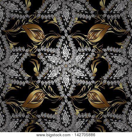 Vintage pattern on black background with golden elements.
