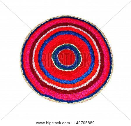 rug round knitted multicolored threads for legs