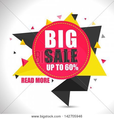 Big Sale with Upto 60% Off, Creative abstract Sticker, Tag or Label design on shiny grey background.