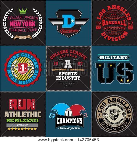 Sport athletic champions college baseball football logo emblem collection. Vector Graphics and typography t-shirt design for apparel. Colored version. Big set for you.