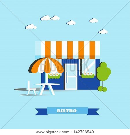 City cafe building vector illustration in flat style. Modern city design. Street bistro restaurant concept.