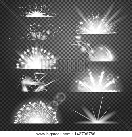 Vector lighting effects. Set of glints on transparent like background