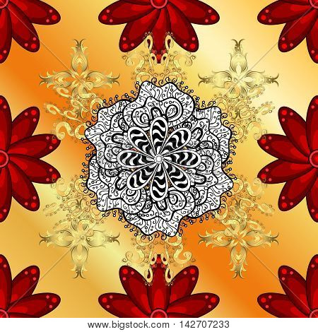 Abstract gradient orange and yellow background with red flowers and white doodles mandala. Vector.