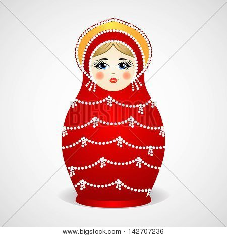 Russian traditional wooden toys, babushka, matryoshka, simple beauty design element. Vector illustration. National culture concept. Retro doll background.