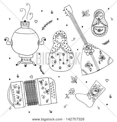 Russian traditional wooden toys, babushka, matryoshka. Simple russian style elements. Hand drawn vector illustration. Balalaika, samovar, harmonic, felt boots background in doodle design.