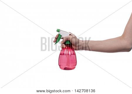 Hand holding garden sprinkler isolated on white