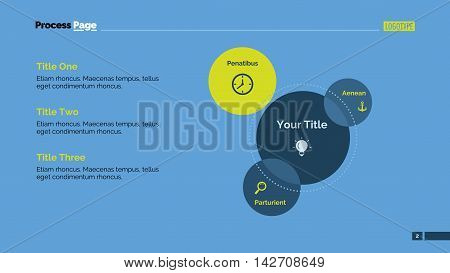 Three parts Venn diagram. Element of presentation, layout, diagram. Concept for business template, infographics, report. Can be used for topics like strategy, marketing, planning, analysis