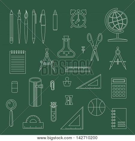 Back to school line design monochrome vector icon set. School supplies : schoolbook notebook pen pencil brush scissors ball pencil case globe ruler etc.