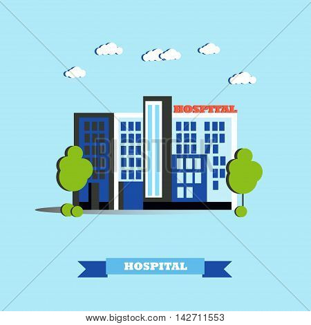 City hospital building vector illustration in flat style. Modern city design. Medical center concept.