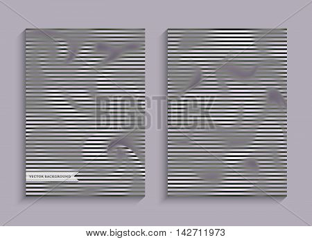 Set striped banners with smoke. Patterns with the effect of steam or gas for creative design. A4 size