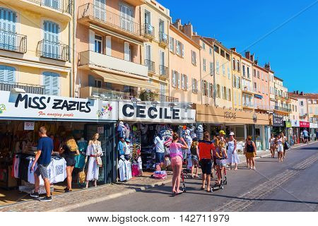 Shops At The Harbor Of Saint Tropez, France