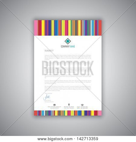 Business letterhead with modern stripes design