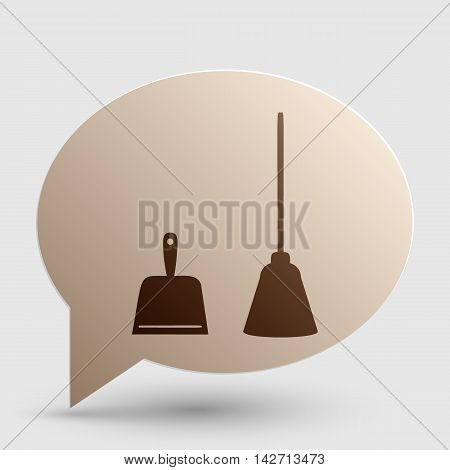 Dustpan vector sign. Scoop for cleaning garbage housework dustpan equipment. Brown gradient icon on bubble with shadow.