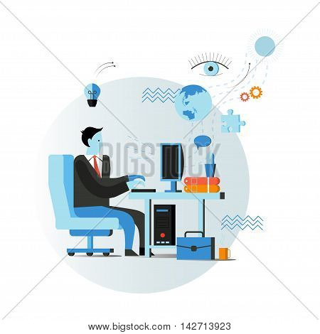 Businessman or office worker sitting on chair and working on the computer.